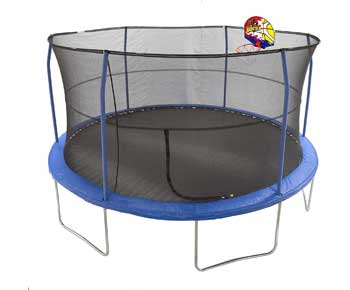 JumpKing-15'-Bounce-N'-Dunk-Trampoline-&-Enclosure-Combo-with-Basketball-Hoop-Blue