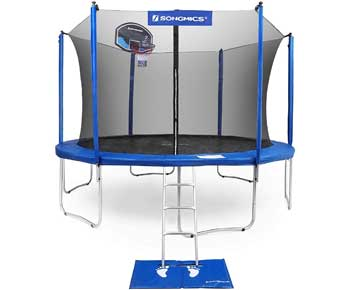 SONGMICS Trampoline with Enclosure for Kids with Basketball Hoop