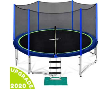 Zupapa 12 14 15 FT Trampoline for Kids with Safety Enclosure Net
